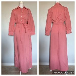 1970s Red Gingham Long Dress